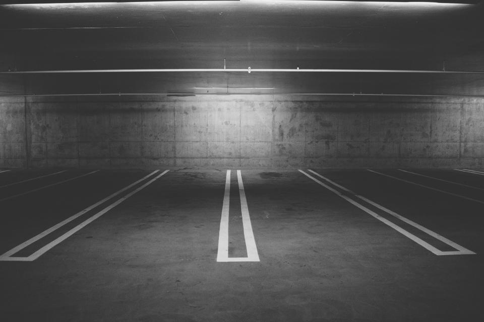 parking lot, parking spaces, lines, concrete, underground