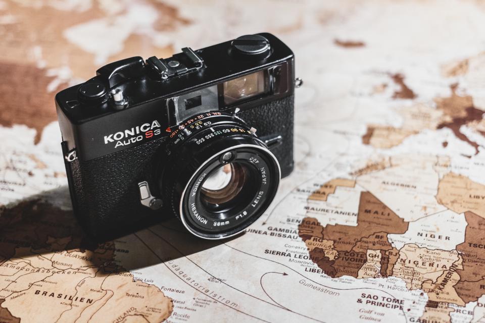 camera, slr, photography, objects, map, globe, world, travel, trip, vacation
