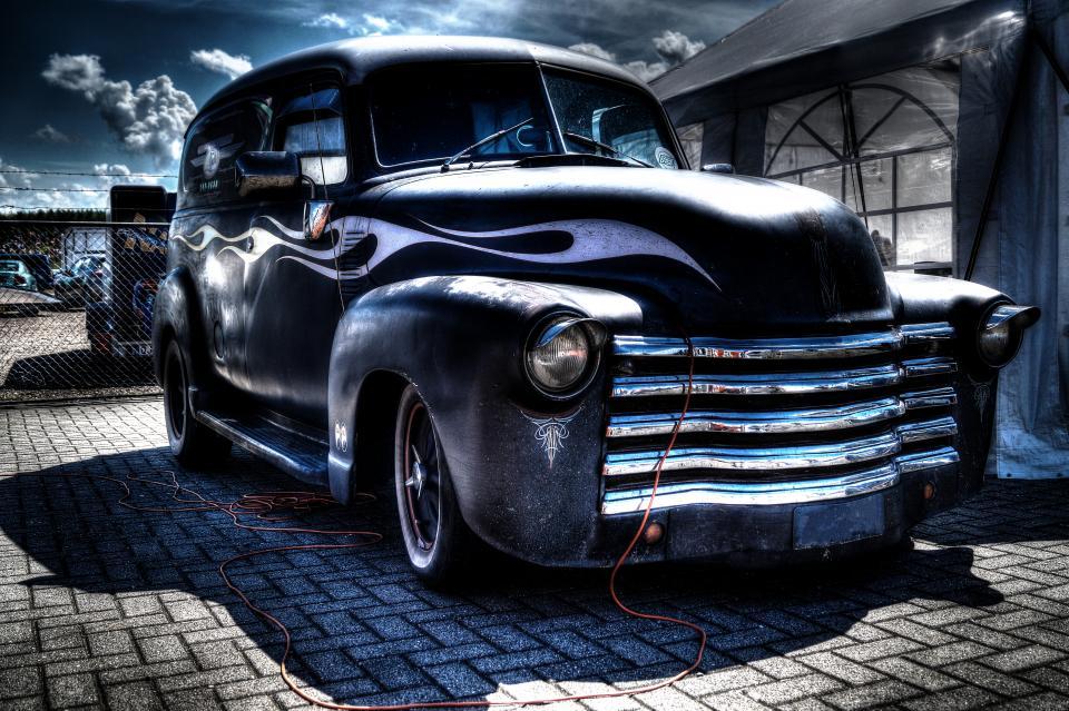 car, oldschool, vintage, flames, grill, workshop, garage, repair