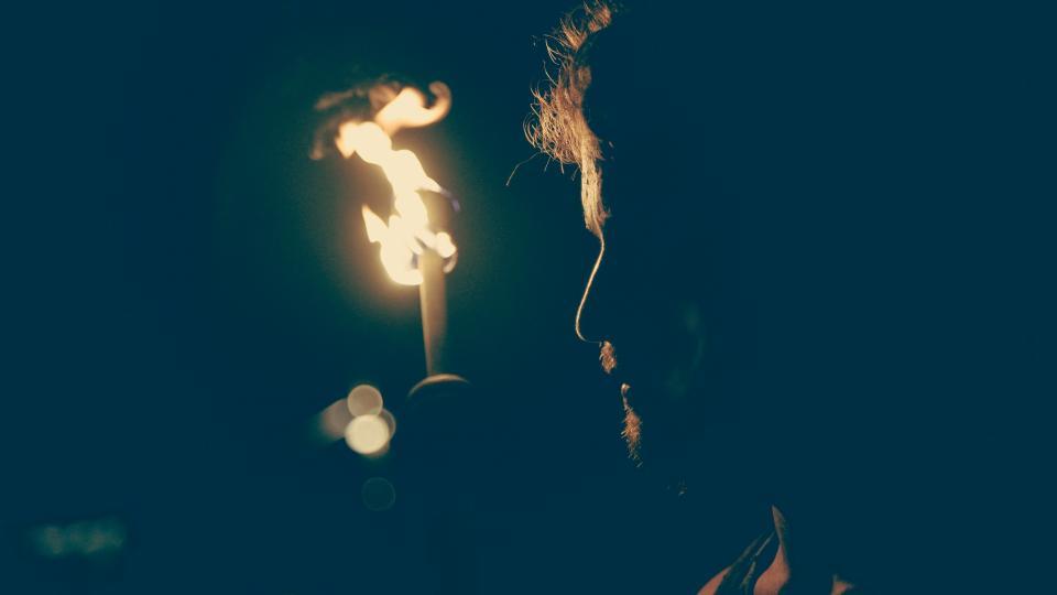 people, man, dark, night, fire, sad, alone, solo