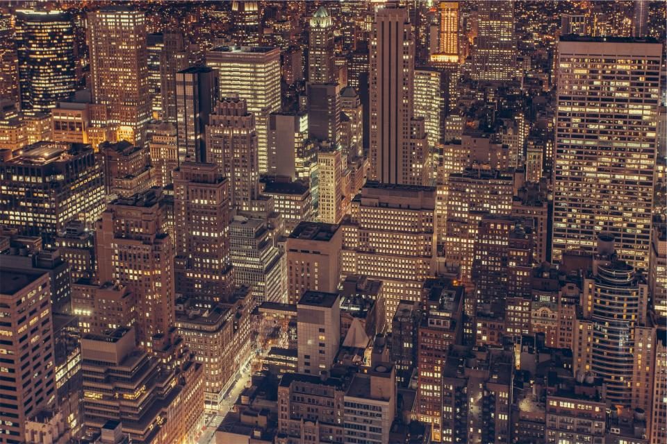 New York, city, skyline, NYC, buildings, architecture, night, dark, lights, aerial, rooftops, towers, high rises, urban