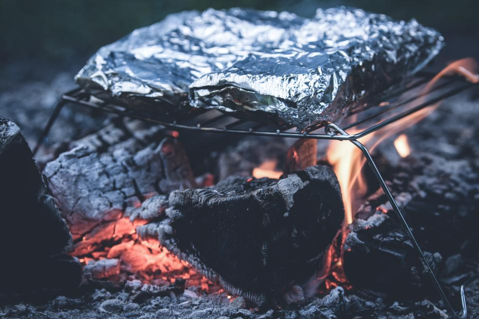bonfire, fire, camping, flame, cooking, foil, food, grill