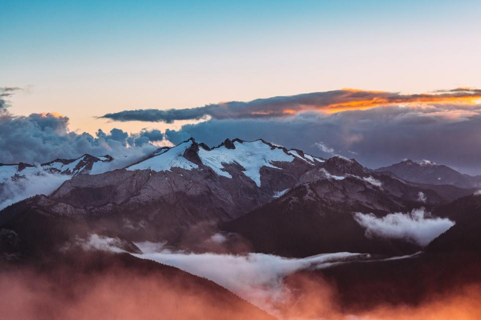 mountains, peaks, summit, clouds, sunset, sky, landscape, nature, aerial, view