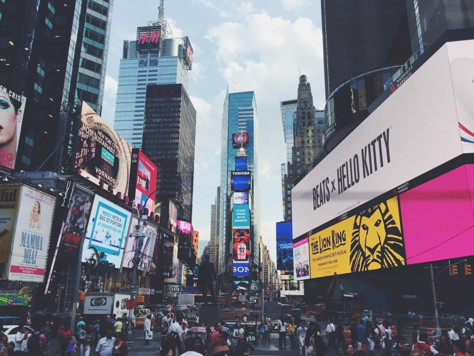 Times Square, New York, city, NYC, crowd, busy, traffic, people, pedestrians, streets, roads, signs, billboards, buildings, architecture, urban