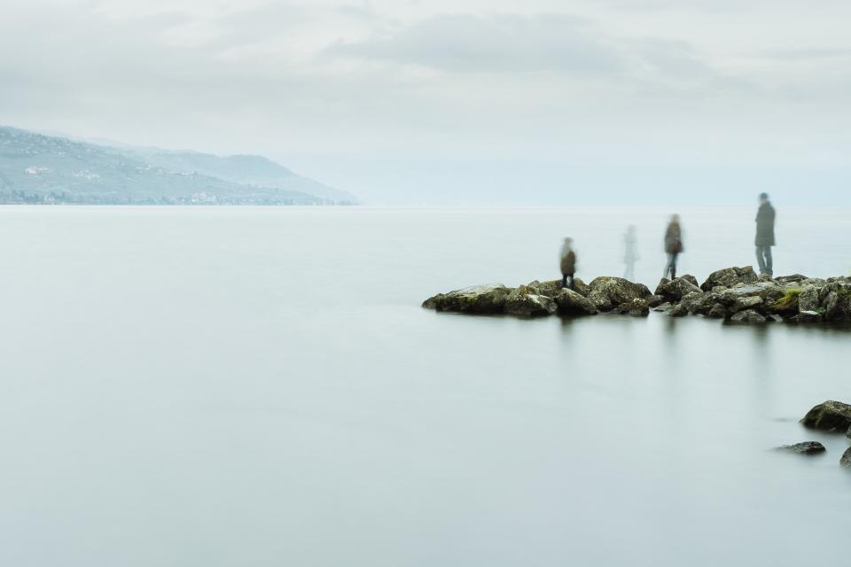 ocean, sea, water, fog, rocks, coast, shore, landscape, nature, blue, sky, clouds