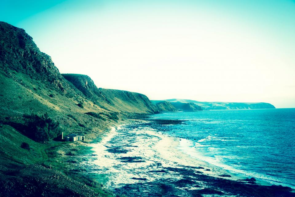 mountains, hills, cliffs, coast, ocean, sea, shore, waves, water, blue, sky, nature, landscape