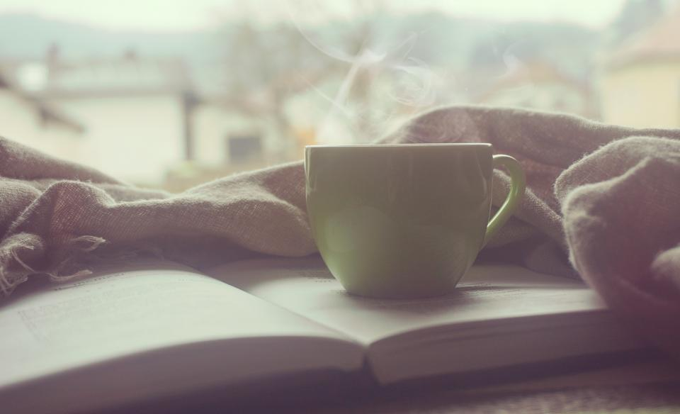 coffee, tea, cup, mug, book, reading, learning, study, blanket, morning, dawn