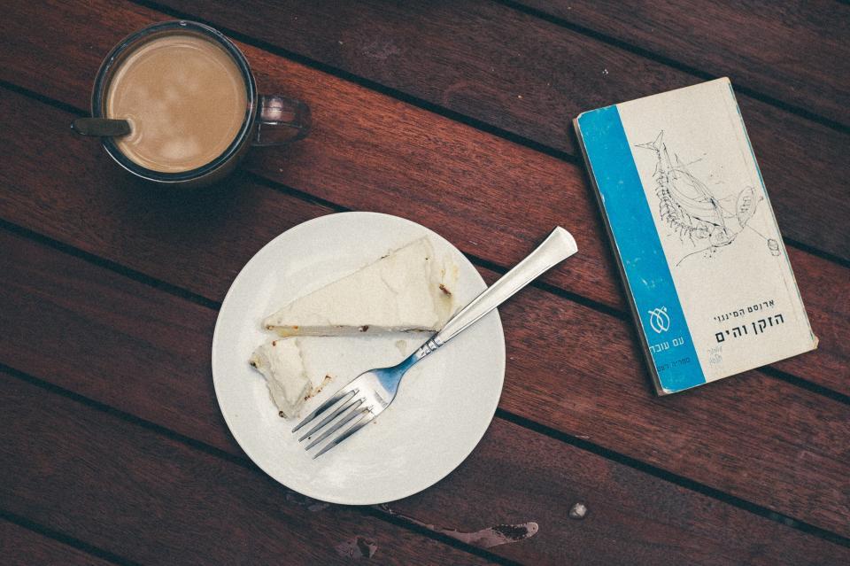 coffee, cake, dessert, food, fork, plate, cup, mug, book, wood, table