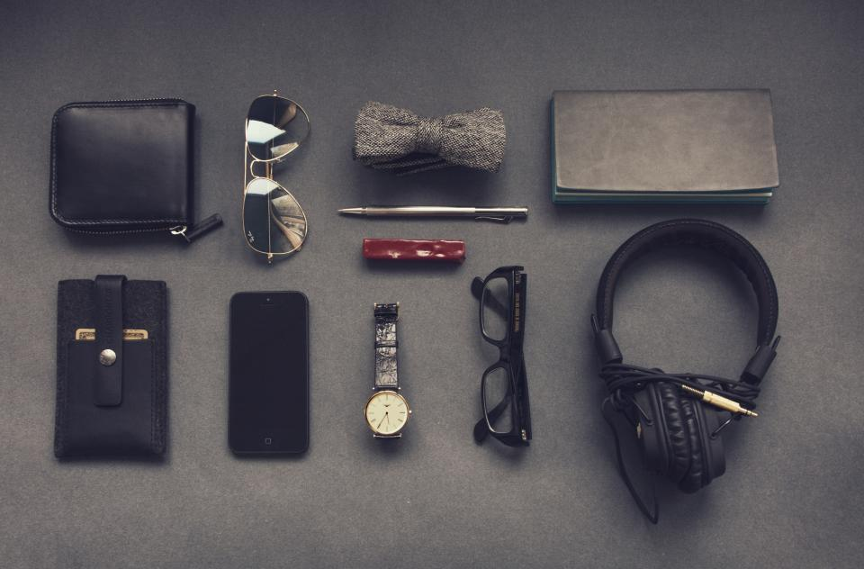 leather, wallet, sunglasses, bowtie, pen, money, case, iphone, cell, watch, glasses, headphones, accessories, technology