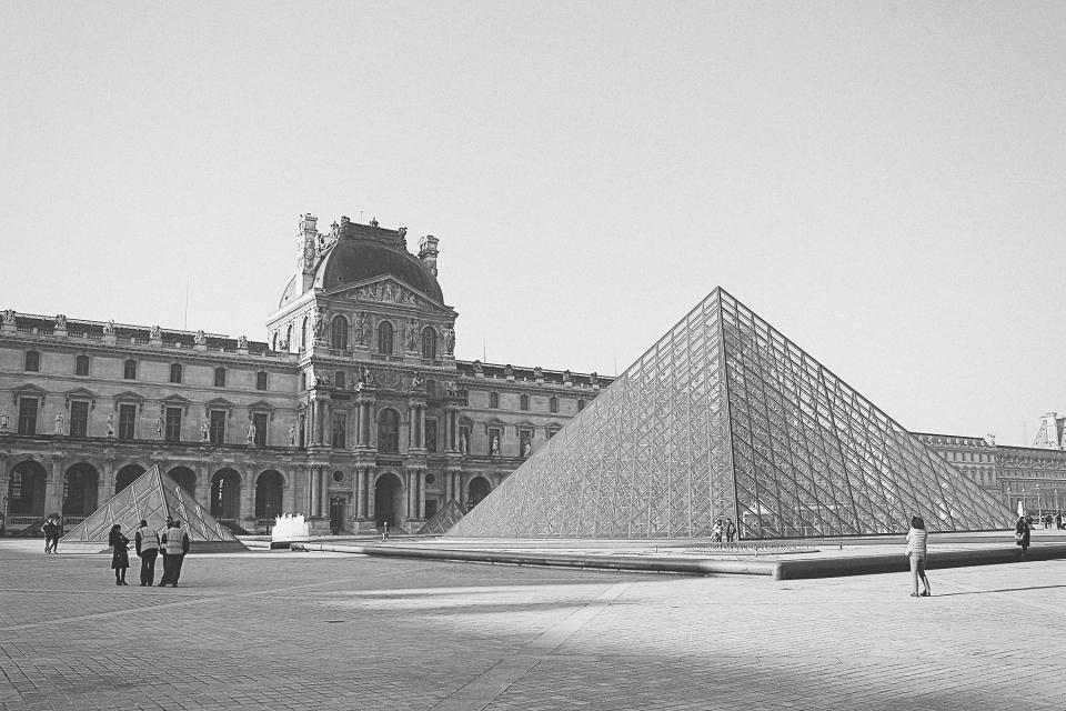 The Louvre, Paris, France, architecture, art, gallery, people, tourists, buildings, black and white