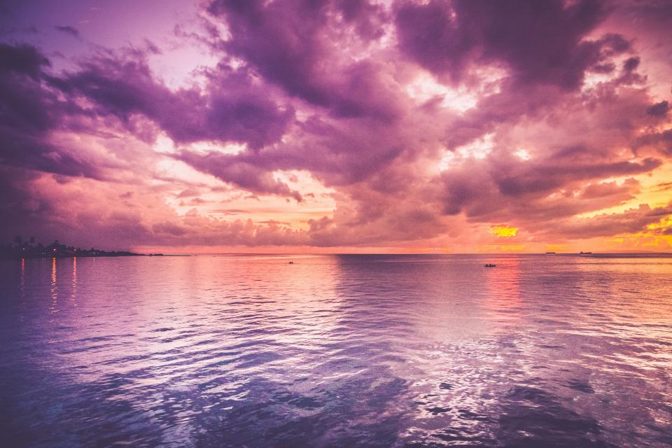 purple, sky, clouds, sunset, dusk, ocean, sea, lake, water, horizon, landscape, nature