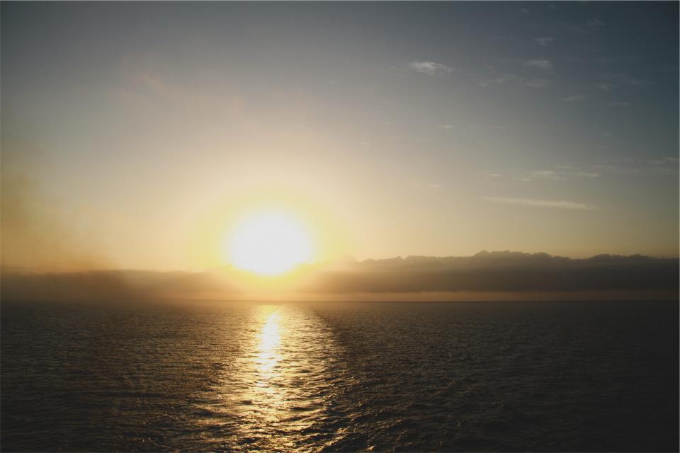 sunset, dusk, horizon, ocean, sea, water, sky