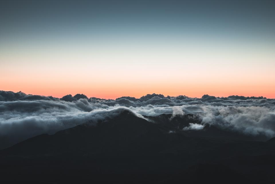mountains, landscape, peaks, summit, sunset, sky, clouds