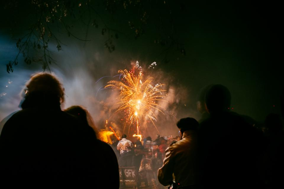 fireworks, sky, night, dark, smoke, evening, entertainment, people, spectators, crowd