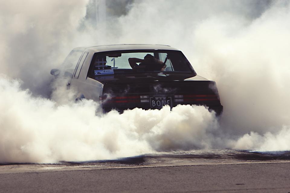 burnout, car, drag, racing, smoke, tires, rubber, asphalt, automotive