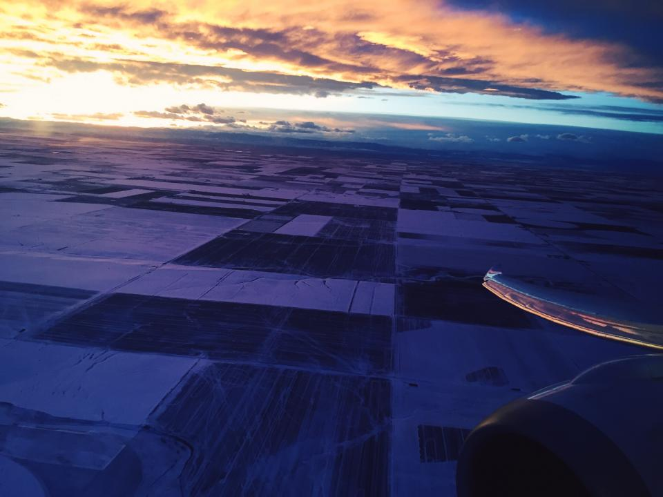 airplane, travel, trip, transportation, vacation, sky, sunset, clouds, cloudy, dusk, fields, aerial, view