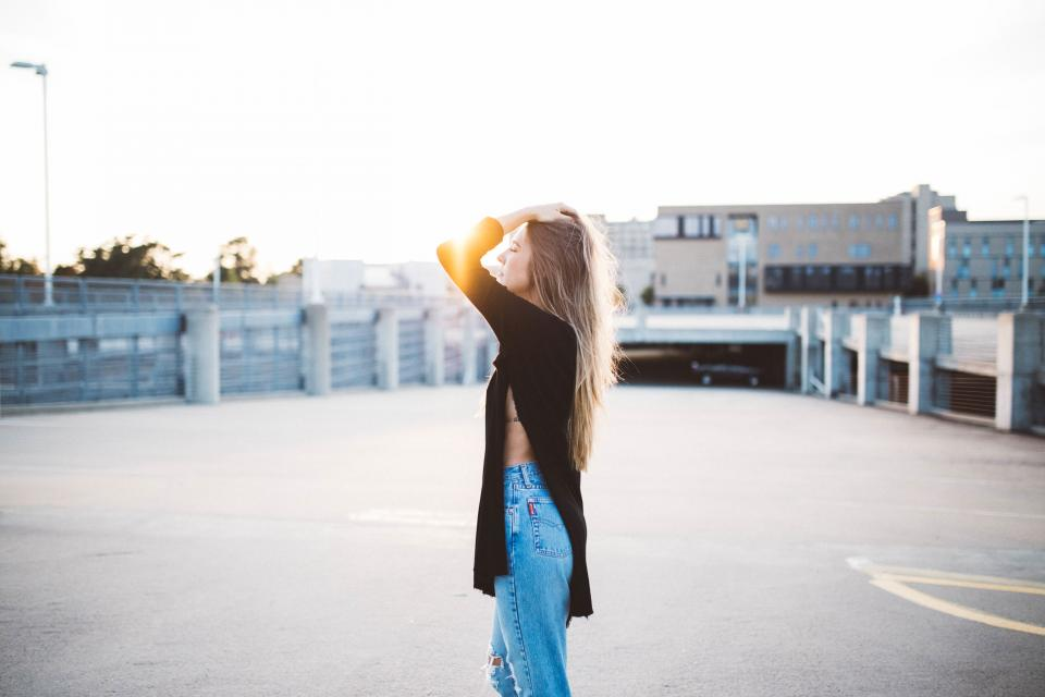 woman, girl, lady, people, side, profile, flare, fashion, style, slit, pants, blonde, pose