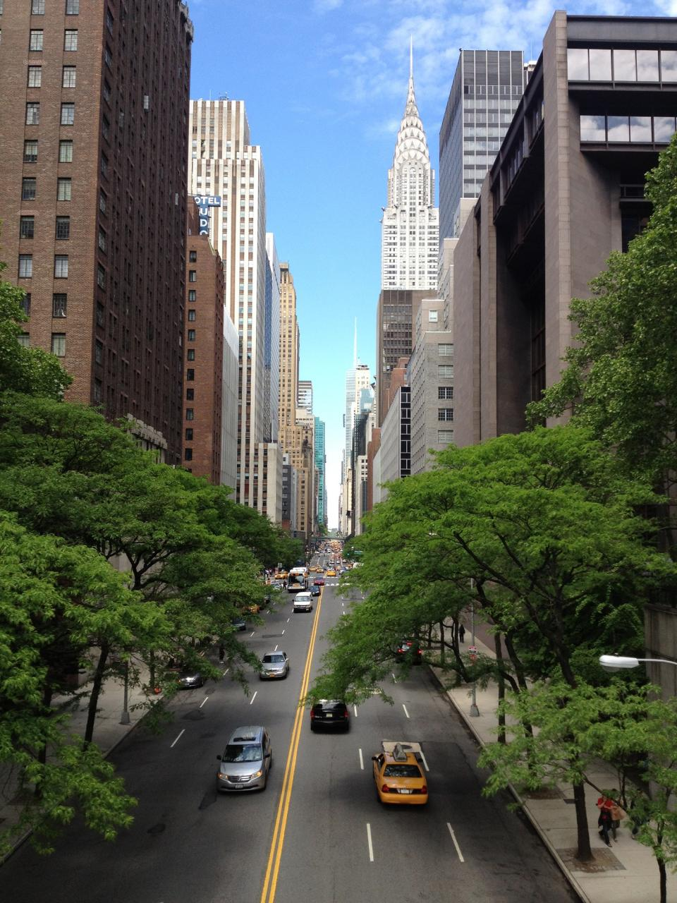 new york, city, road, street, cars, taxis, sidewalk, trees, buildings, empire state, sky, towers