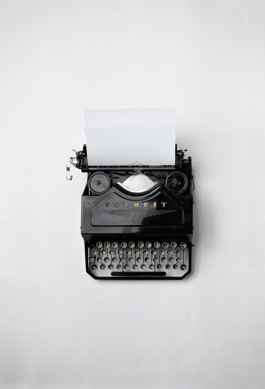 old, vintage, favorit, typewriter, letters, keys, typing, paper, black, white