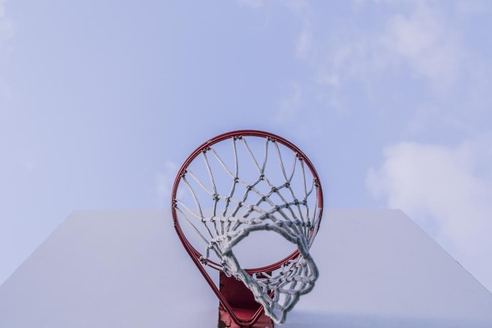 basketball, net, hoops, backboard, rim, sports, sky