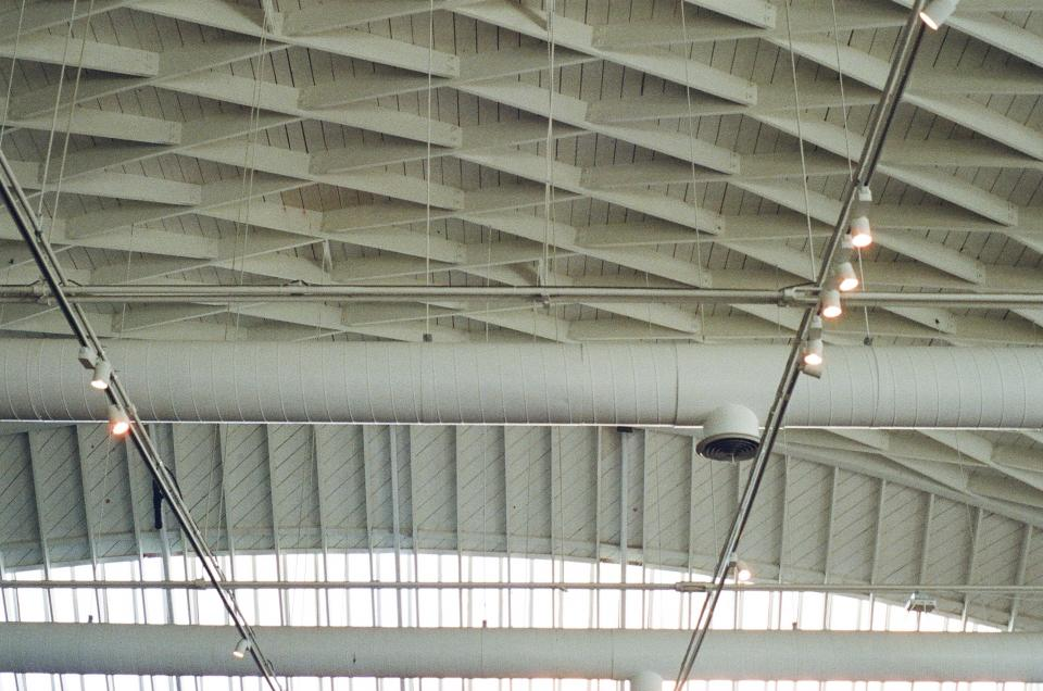 ceiling, beams, pipes, lights, architecture