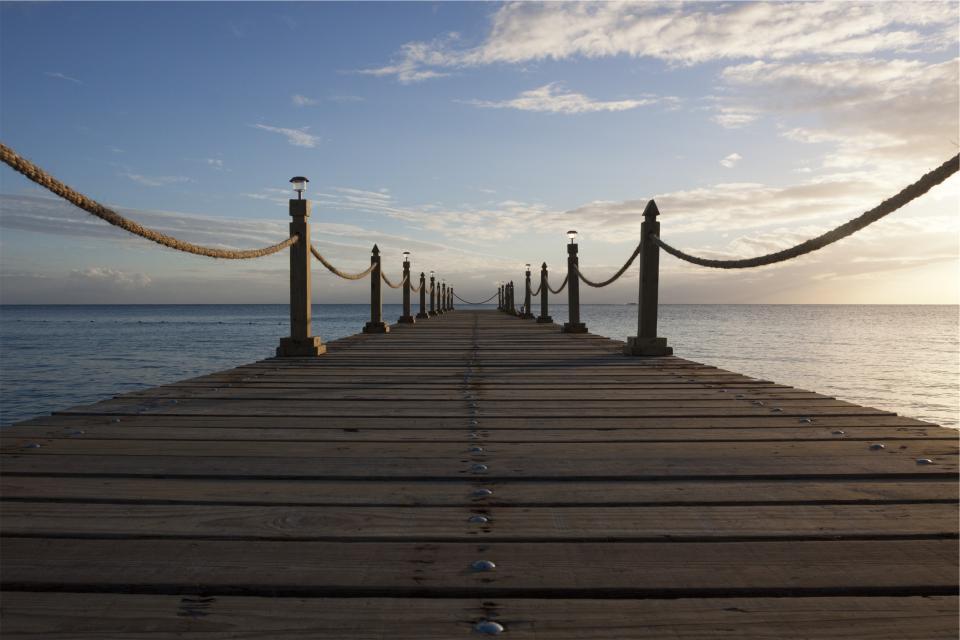 wood, dock, pier, rope, water, ocean, sea, sky