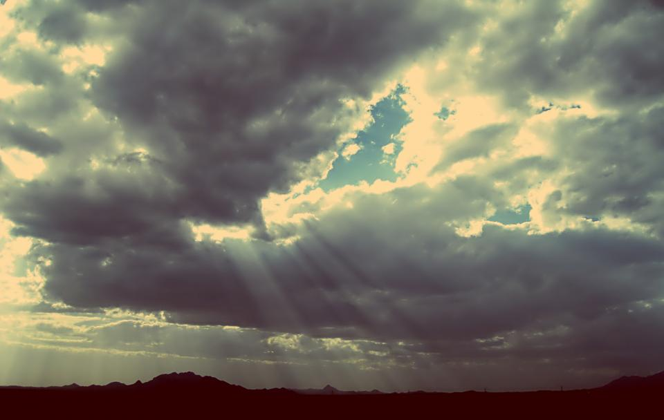 sunbeams, sky, clouds, cloudy, landscape, nature