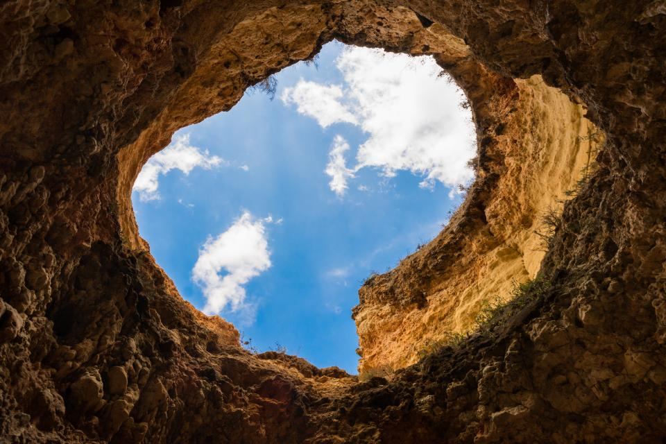 hole, cave, sky, clouds