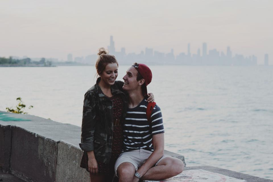 young, girl, guy, people, couple, love, romantic, hat, shorts, tshirt, jacket, dress, camouflage, water, skyline