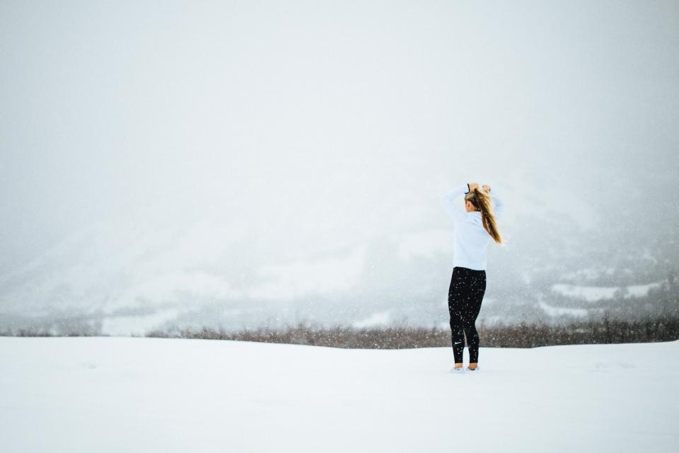 girl, woman, people, blonde, long hair, snowing, cold, snow, blizzard, winter, lifestyle