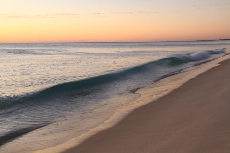 beach, shore, sand, ocean, sea, waves, horizon, sunset, sky