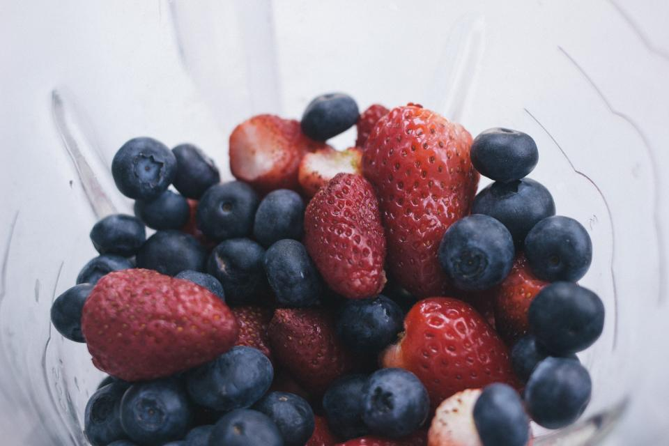strawberries, blueberries, fruits, strawberry, blueberry, healthy