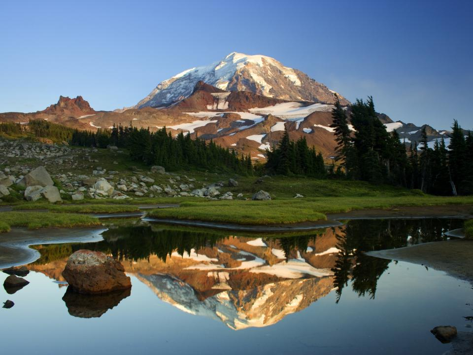 mountains, peaks, hills, snow, trees, grass, rocks, water, reflection, landscape, nature, sky