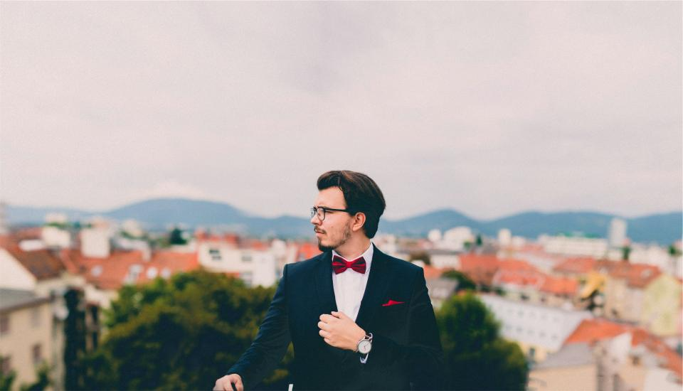 suit, tuxedo, bowtie, pocket square, watch, man, guy, fashion, model, clothes, people, eyeglasses, beard