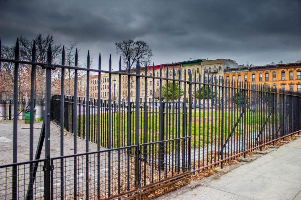 Brooklyn, New York, fence, gate, sidewalk, buildings, city, storm, clouds, cloudy