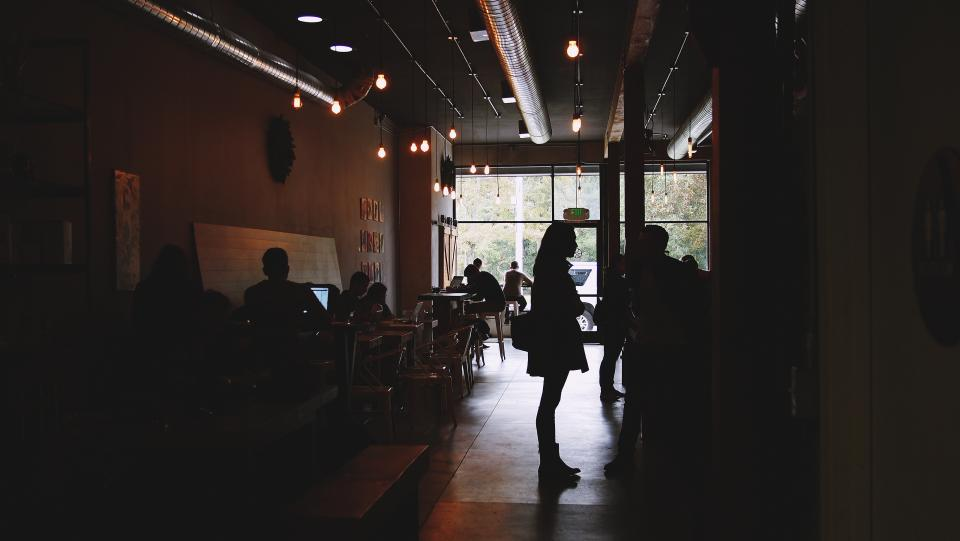 cafe, people, working, tables, chairs, laptops