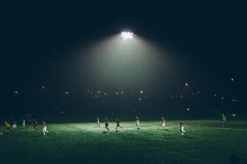 soccer, field, athletes, sports, game, lights, night, dark, fitness, players