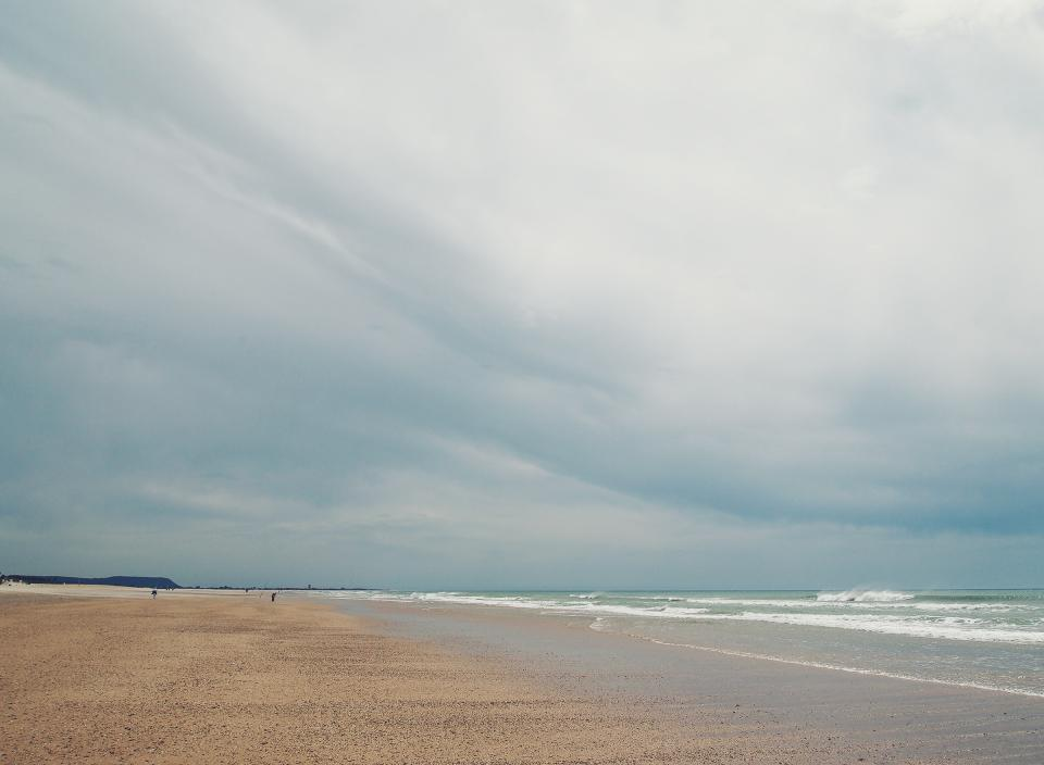 beach, sand, shore, waves, ocean, sea, cloudy, clouds