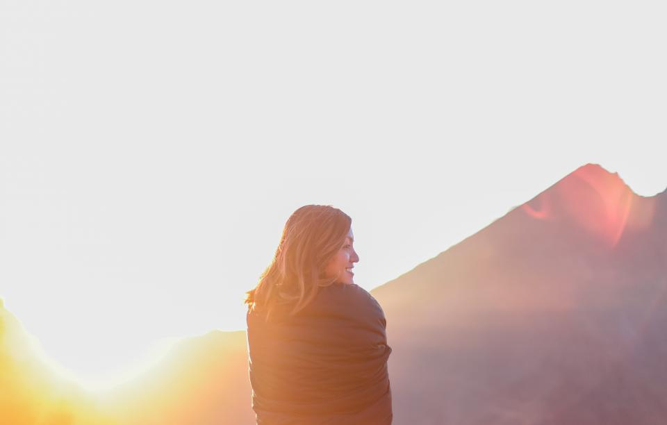 girl, woman, smiling, happy, sunset, mountains