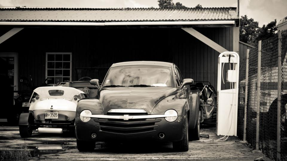 cars, vintage, garage, driveway, automotive, black and white