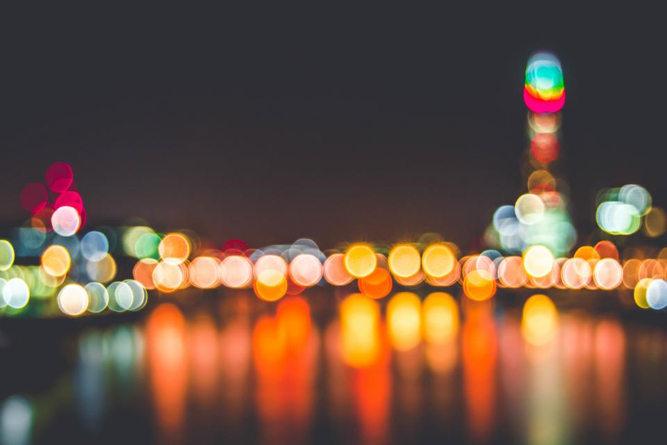 lights, blurry, abstract, bokeh, night, dark, evenining
