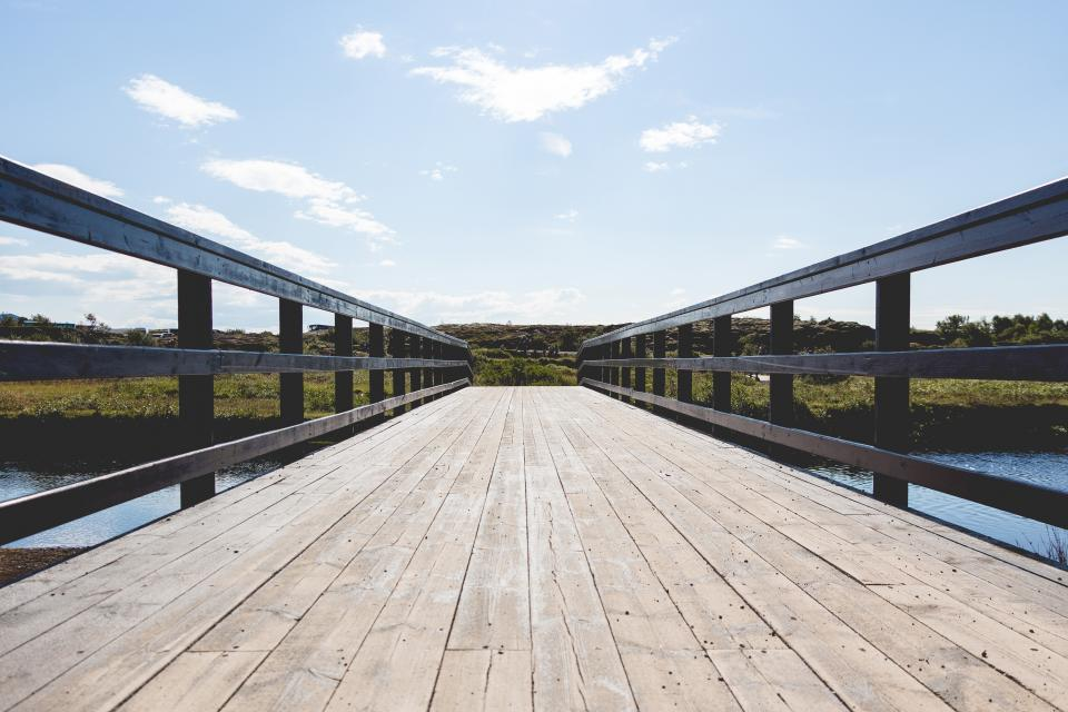 wood, bridge, sky, sunny, sunshine, clouds