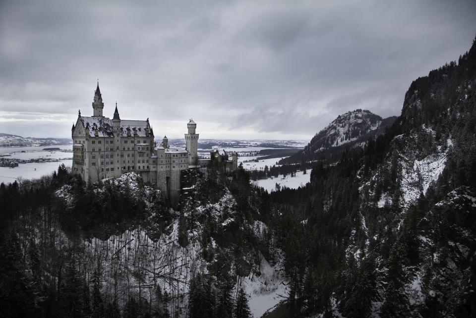 nature, landscape, mountains, slope, forests, trees, blanket, snow, architecture, castle, cliff, sky, clouds, white, black