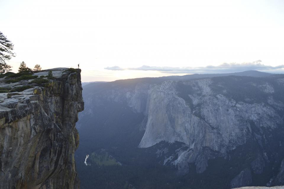 nature, landscape, mountains, cliff, summit, peaks, trees, vegetation, clouds, sky, horizon, man, people, trek, hike, climb