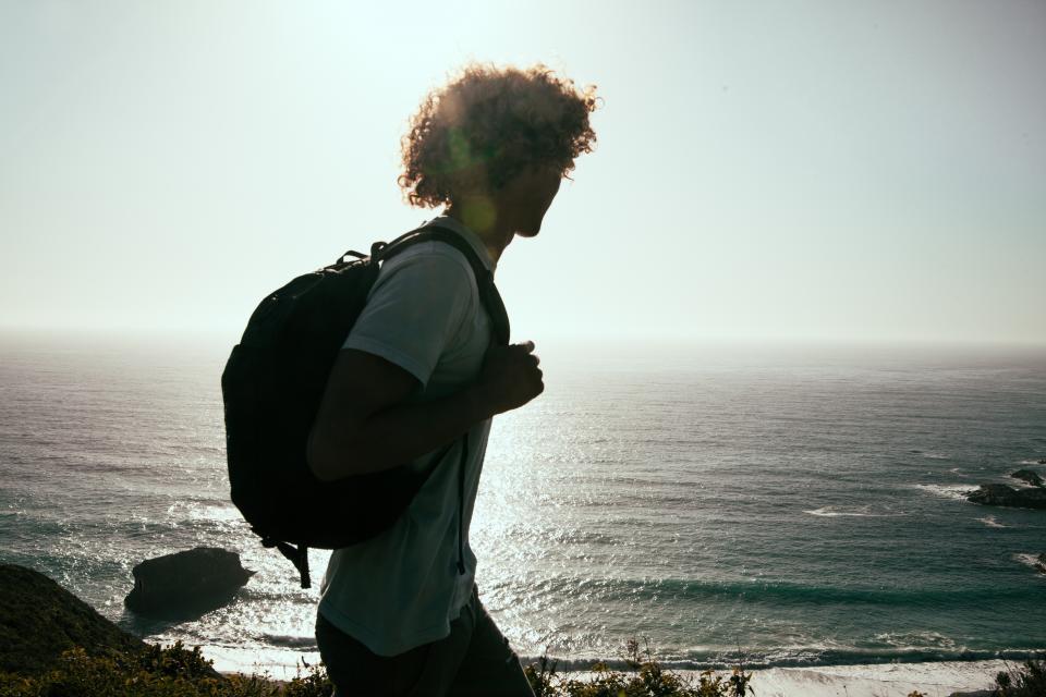 guy, man, silhouette, backpack, knapsack, adventure, ocean, sea, water, summer, sunset, people