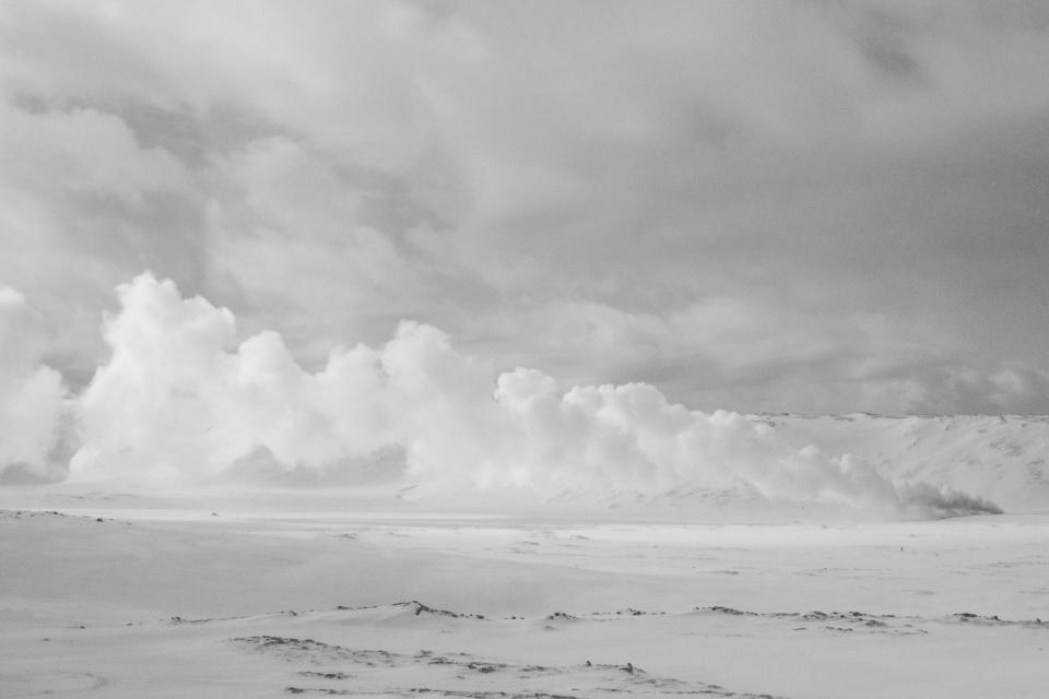 snow, clouds, sky, black and white