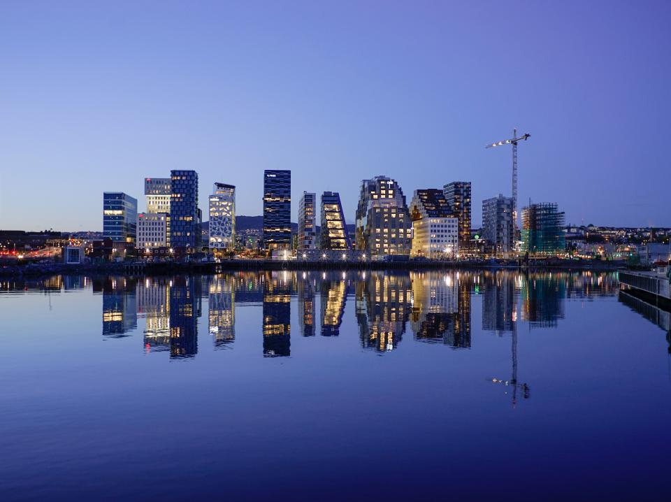 cityscape, skyline, buildings, city, urban, night, evening, blue, sky, water, reflection