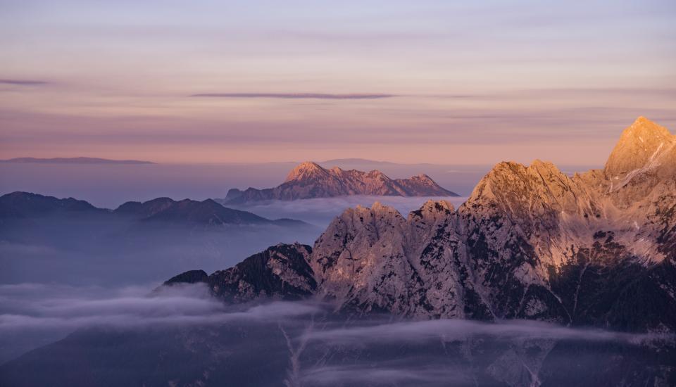 mountains, peaks, summit, landscape, nature, cliffs, clouds, sky, foggy, adventure