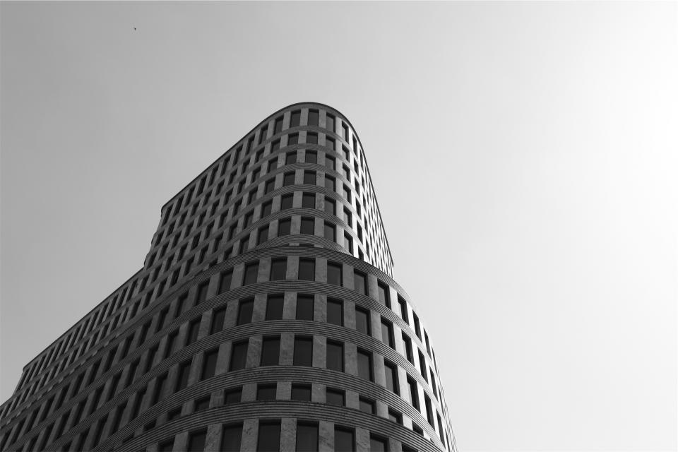 building, architecture, sky, black and white