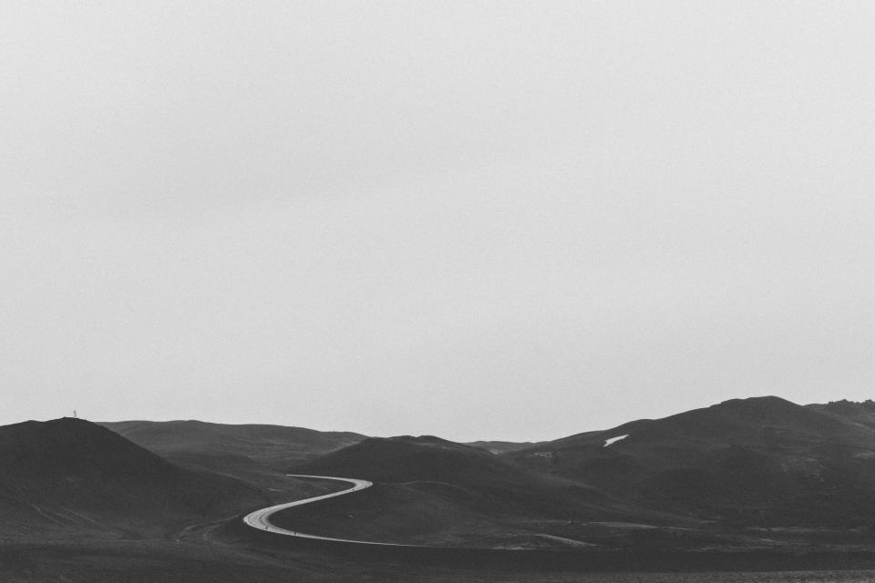 rural, road, countryside, mountains, hills, field, nature, landscape, grey, sky, black and white